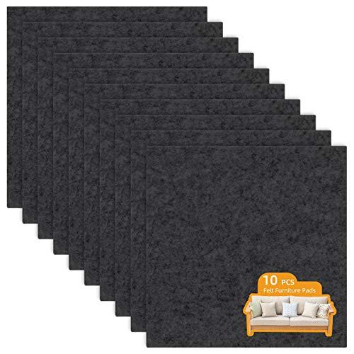 LITLANDSTAR 10 PCS self-adhesive Furniture filz Pads 20 * 20cm,filzgleiter selbstklebend Möbelpolster für Sofa Couch Tischbeine Stuhl möbelfüße, schwarz