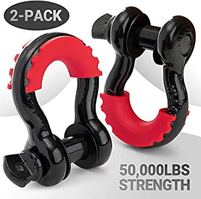 PROREADY D-Ring Shackles, 2 Pack, with ? -inch Locking Pin - Powder Coated Shackle Kit for Vehicle Recovery - Heavy-Duty, Electro-Galvanized with 2 Shackle Isolators - Premium Towing Accessories