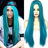 BLUPLE Long Straight Wigs Teal Blue Color Natural Heat Resistant Synthetic Hair Middle Part Wigs for Cosplay Daily Wear 22 inches (No Lace Wig)