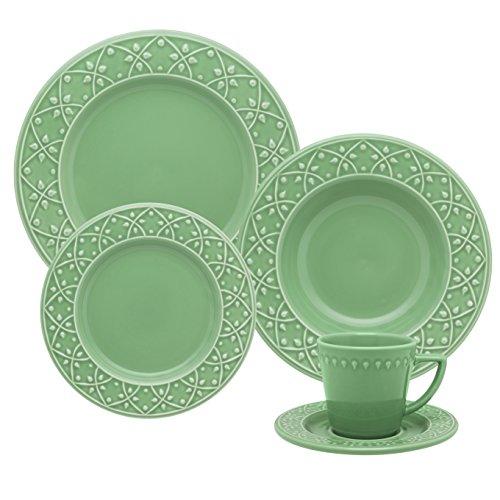 1 Aparelho de Jantar e Chá 30 Peças Oxford Daily Mendi Salvia Verde