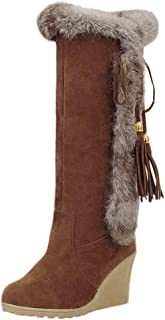 Chaussures Femme Basses Femme Talon Plat Hiver Neige Hiver à Lacets Fourrure Mi-Mollet Bottes Taille