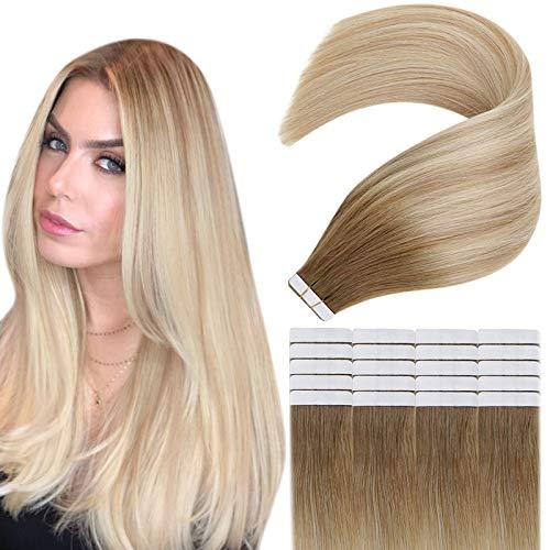 Easyouth Extension Adhesive Cheveux Naturel Bande pour Femme No Split End Brun Moyen Mixte Blond Miel Et Platine Blond Hair Extensions Vrais Cheveux Extensions 20Pcs 12pouce 30g
