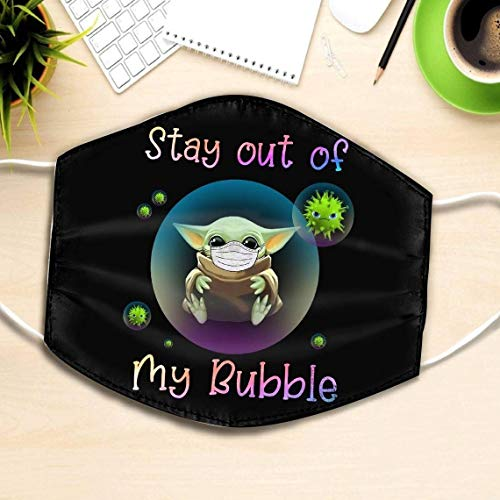 Stay out of My bubble baby yoda Yoga Social Distance Quarantined Face Mask can be washed comfortable to wear Anti Droplet Dust Filter Cotton Face Mask