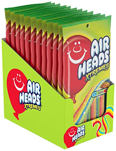 Airheads Xtremes Belts Sour Candy Candy, Rainbow Berry, Non Melting, Bulk Party Bag, 4.5 oz ( Pack of 12)