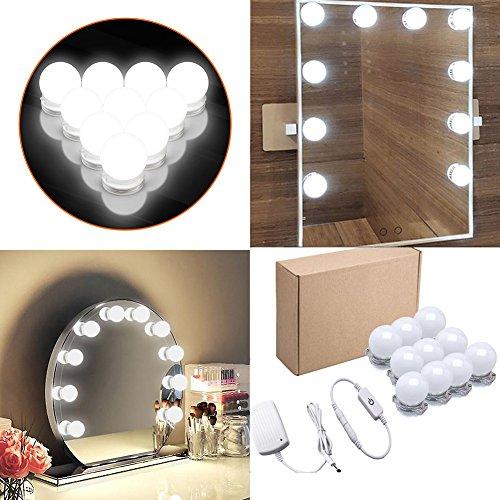 Make-up Beleuchtung f/ür Schminktisch LED Strip Lights -Set mit Touch Sensor Dimmer und Netzteil Spiegel nicht enthalten Vanity Lichter Lampen f/ür DIY Hollywood-Spiegel 10 Lampen//4 Meter