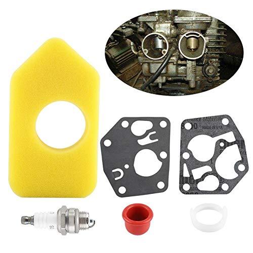 Briggs and Stratton Rasenmäher-Service-Kit Geeignet für Classic und Sprint, Luftfilter, Stopfen, Primerbirne und Membranen