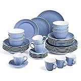Sunting Geschirrset 6 Personen Blau Tafelservice 36 tlg. Neues Bone China Geschirr Set im Geprägtes Stil mit Rund Speiseteller Suppenteller Dessertteller Müslischüssel Kaffeetassen und Untertassen