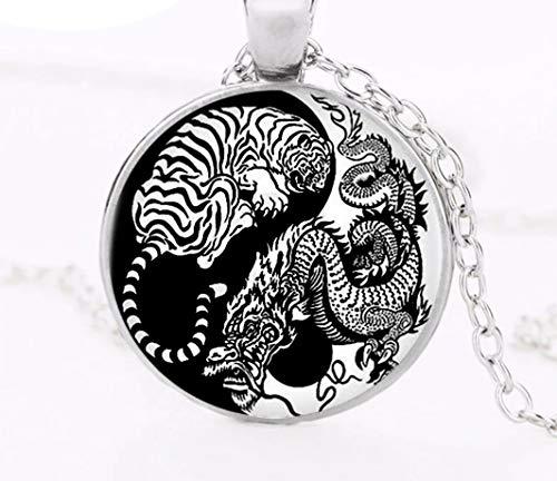 Halskette Drache und weißer Tiger, Halskette Yin Yang, Halskette mit weißem Tiger, Figur Drache