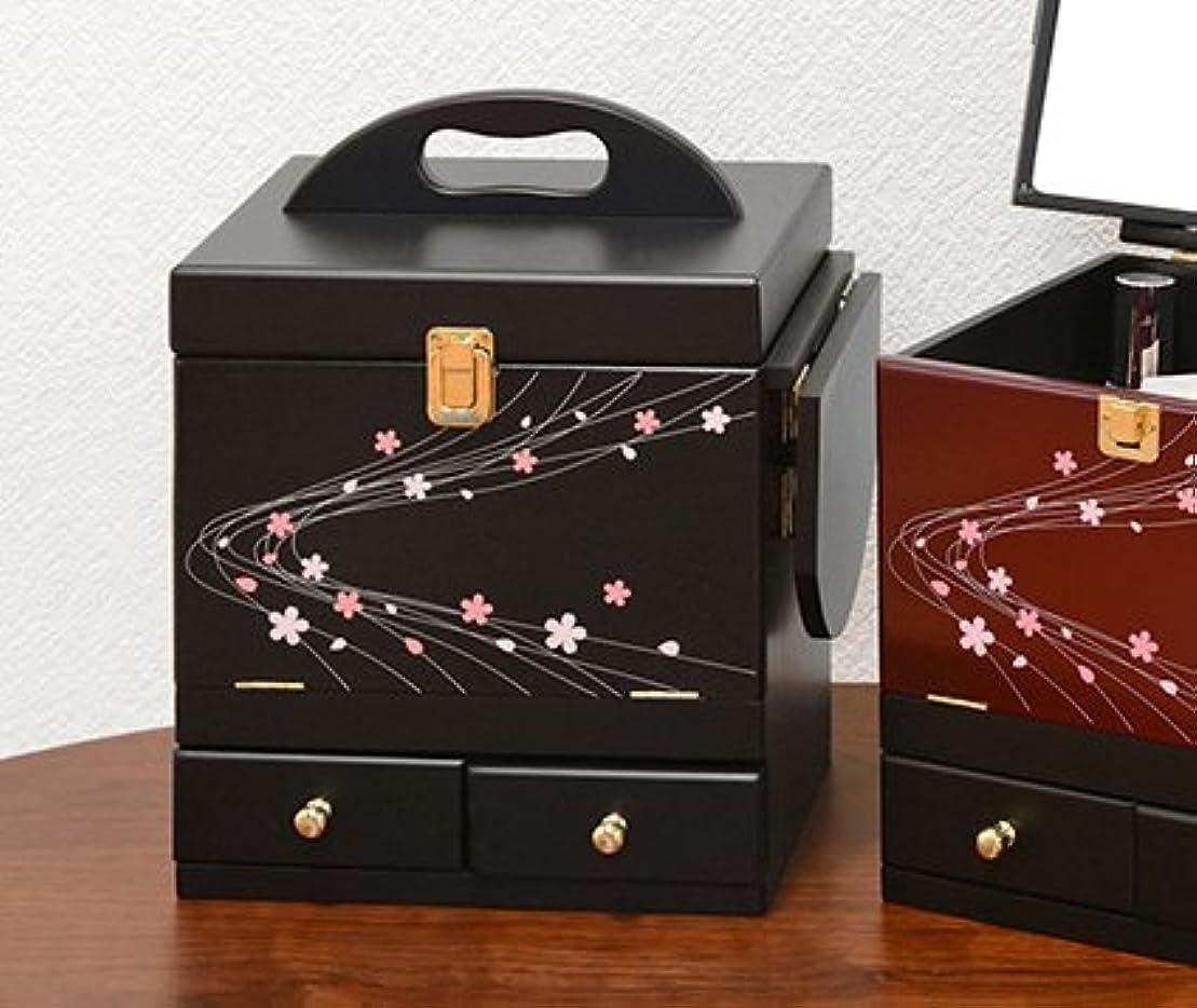 振り向く提供コンテンポラリーコスメボックス 化粧ボックス ジュエリーボックス コスメ収納 収納ボックス 化粧台 3面鏡 和風 完成品 折りたたみ式 軽量 ブラック