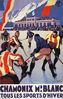 HOCKEY WINTER SPORT CHAMONIX MONT BLANC FRANCE FRENCH LARGE VINTAGE POSTER REPRO