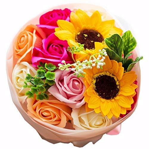 フレグランス ソープフラワー シャボンフラワー 夏にぴったり ひまわり&ローズ 花束 ブーケ FPP-808 (ピンク)