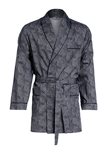 Revise Herren Morgenmantel – kurz – Bademantel RE-509 - Elegant - 100% Baumwolle – Schwarz mit Muster XXXL