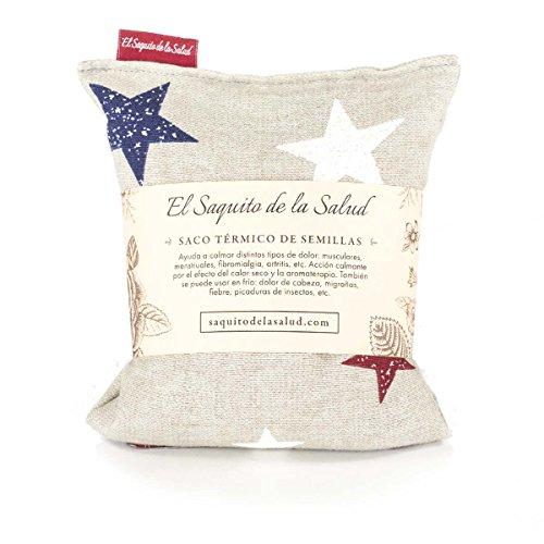 Saco Térmico de Semillas Aroma Lavanda, Azahar o Romero Tejido Gris con Estrellas (Romero, S (23 x 15 x 2 CM con Funda))
