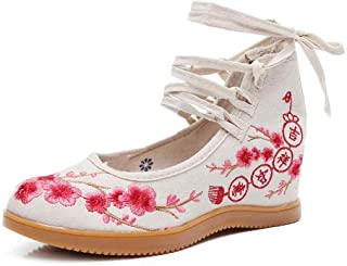 Inlefen Female Flat Chinese Style Lacing Oxford Sole High Top Embroidered Shoes