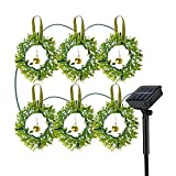 Dolucky Wreaths Solar Christmas Lights, Hanging Outdoor String Lights with Jingle Bells, 8 Modes Solar Lights for Party Fence Door Xmas Tree Decor