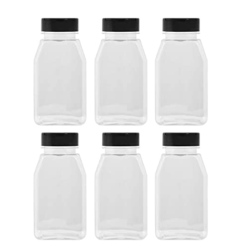 LARGE 16OZ CLEAR PLASTIC SPICE CONTAINERS BOTTLE JARS - FLAP CAP TO POUR OR SIFTER SHAKER. USED TO STORE SPICES, HERBS AND IS REFILLABLE-BPA FREE (6, black caps)
