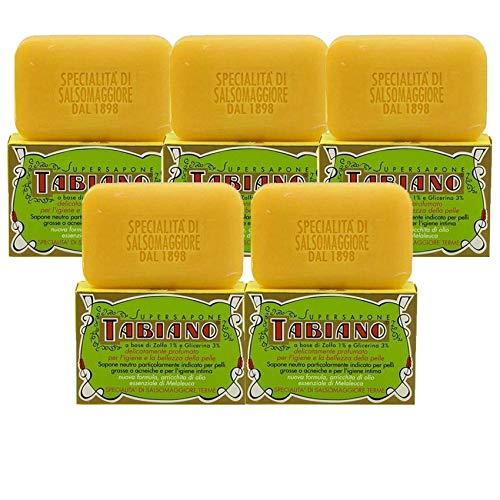 Savon au Soufre et Glycérine - Superpack de 5 Savons Supersapone Tabiano Traitement Anti-Acné, Psoriasis & Eczéma (5 Savons de 125g)5