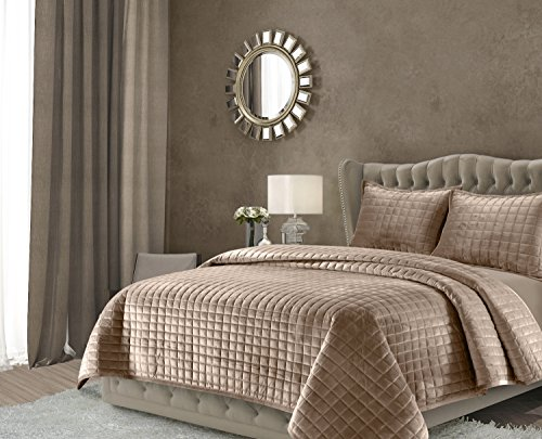 Tribeca Living FLORENCEQUITWTA Florence Velvet Oversized Solid Quilt Set, Twin, Taupe