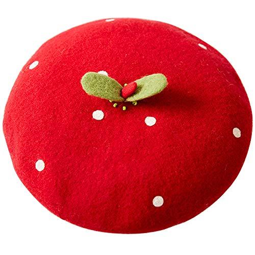 Handmade Kawaii Strawberry Beret Vintage Artist Painter Hat Women Wool Cap Warming Gift (red)