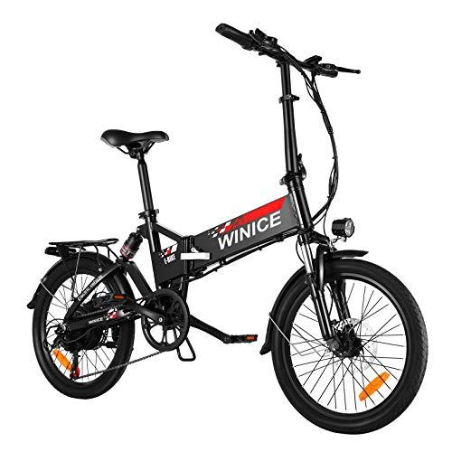 WINICE E-Bike, 20' Falt Elektrofahrrad, 350W Citybike Electric Bike mit herausnehmbarer 8 Ah Batterie, Shimano 7-Gang, Vollfederung