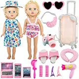 SOTOGO 2 Sets 18 Inch Doll Clothes and Accessories for American 18 Inch Girl Doll, American Doll Traveler Clothes and Accessories