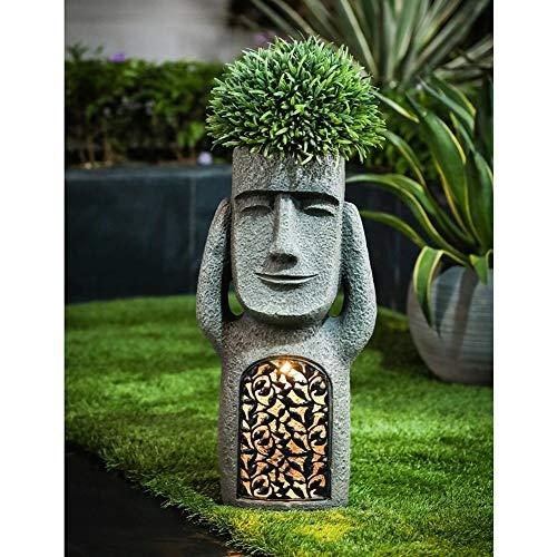 Statue de jardin en résine - Décoration d'extérieur - Motif île de Pâques - Inscription « See Hear Speak No Evil »