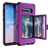 WeLoveCase Galaxy S10 Wallet Case Defender Wallet Credit Card Holder Cover with Hidden Mirror Three Layer Shockproof Heavy Duty Protection All-Round Protective Case for Samsung Galaxy S10 Purple