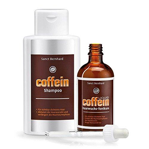 Sanct Bernhard Coffein Haarpflege-Set: Liquid Haarwuchs Tonikum & Coffein-Shampoo
