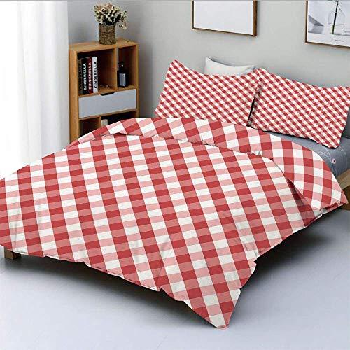Juego de funda nórdica, rayas transversales con pequeños cuadrados rojos Estilo retro Patrón abstracto decorativo Juego de cama decorativo de 3 piezas con 2 fundas de almohada, rojo rosa claro blanco,