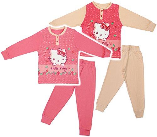 alles-meine.de GmbH 2 TLG. Set _ Hausanzug / Schlafanzug -  Katze - Hello Kitty  - Größe: 4 Jahre - Gr. 116 - 100 % Baumwolle - Langer Pyjama / Sportanzug langärmelig / Trainin..