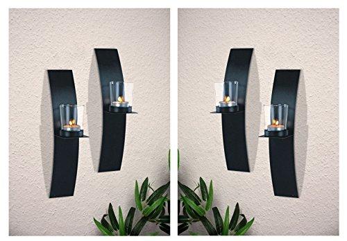 Markenlos Wandkerzenhalter mit Windlichtern aus Glas im 4er Set