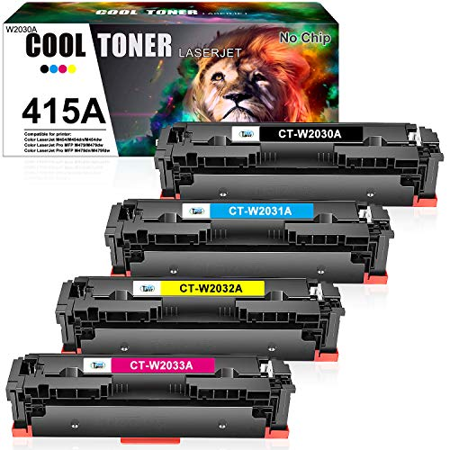 Cool Toner Kompatibel Toner Cartridge Replacement für HP 415A 415X W2030A W2030X für HP Color Laserjet Pro MFP M479 M479fdw M479dw M479fdn M479fnw, M454 M454dw M454dn, W2031A W2032A W2033A, Kein Chip