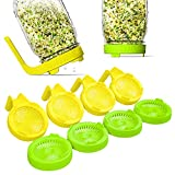 NSYNSY Sprouting Lids,8 Pack Plastic Sprouting Kit with Handle,Sprouting Jar Lids for Wide Mouth Mason Jars,for Growing Bean Sprouts, Alfalfa, Broccoli
