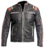 Beste Jacke Cafe Racer Retro 3 Vintage Motorrad Schwarz Distressed Echtes Lederjacke