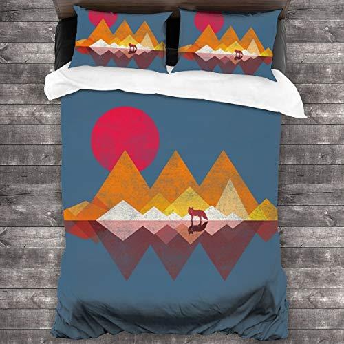 KUKHKU Lone Wolf Sunset Juego de cama de 3 piezas con funda de edredón de 86 x 70 pulgadas, decoración de 3 piezas con 2 fundas de almohada