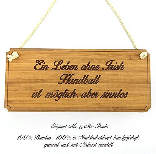 Mr. & Mrs. Panda Türschild Sportart Irish Handball Classic Schild - 100% handgefertigt aus Bambus Holz - Anhänger, Geschenk, Vorname, Name, Initialien, Graviert, Gravur, Schlüsselbund, handmade, exklusiv