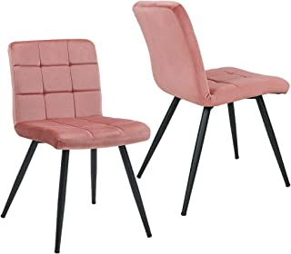 Duhome Elegant Lifestyle Mid Century Modern Chair Accent Dining Chairs Metal Legs Pink Velvet Chair Mid-Back Soft Back for Waiting Room, Set of 2