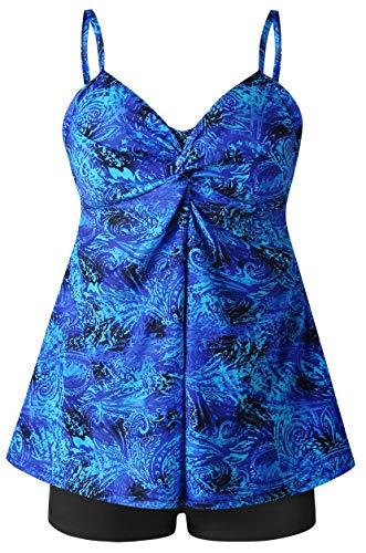 Plus Size Swimsuit for Women Two Piece Tankini Bathing Suit Swimwear Floral Print (Blue, US14 / 48)