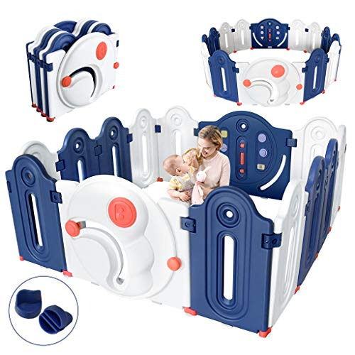 Dripex Baby Playpen Parc pliable pour enfants en plastique 148x142cm Grille de protection Grille de protection avec porte et jouets 14, grille de rampe à l'intérieur et à l'extérieur, bleu et blanc