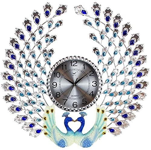 XZGDEN Decoraciones de Pared, Relojes de Pared de Arte Pavo Real Metal Redondo Reloj Reloj Reloj de Mute Mute Electrónico 25x25 Pulgadas 3 Colores (Color: B, Tamaño: con Cara de Reloj de Vidrio)