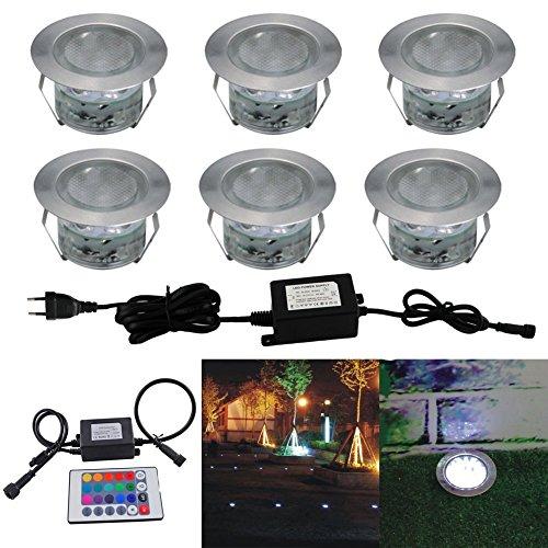 6 Kit Spot Encastré Extérieur Sol Terrasse Bois,45mm Spots Encastré Extérieur Fait en IP67 DC12V 0.2-0.5W Avec Alimentation EU Pour Jardin Escalier Patio RVB