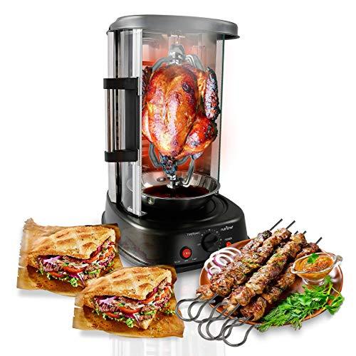 NutriChef (PKRTVG34) Horno giratorio vertical de mesada | Rotisería | Máquina de shawarma | Máquina de kebab | Resiste a las manchas y de bajo consumo con puerta resistente al calor | Incluye rejilla para kebab con 7 brochetas