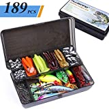 PLUSINNO Fishing Lures Baits Tackle Including Crankbaits, Spinnerbaits, Plastic Worms, Jigs, Topwater Lures, Tackle Box and More Fishing Gear Lures Kit Set, 189Pcs Fishing Lure Tackle…