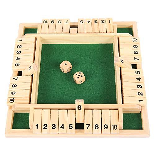 Jeu de dés en Bois Shut The Box Jeu de société Classique pour 4 Joueurs Amis Familles Strategie Jeu de Table Planche Echecs Bois pour Enfants Adultes