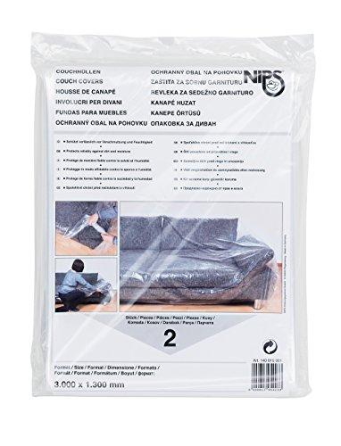 NIPS 140815001 Couchhülle 2er Packung (Größe 3000 x 1300 mm), LDPE-Folie transparent