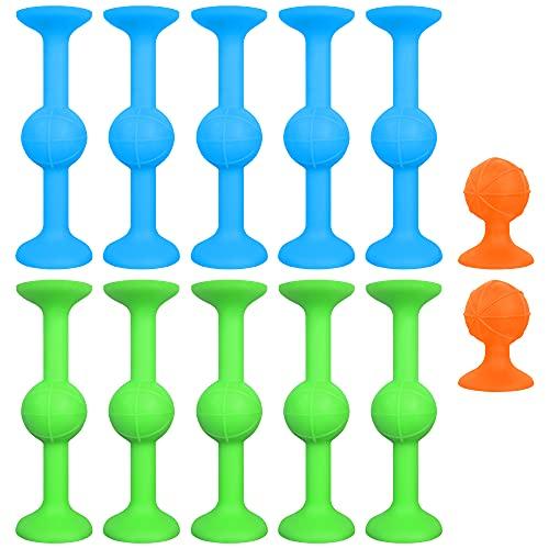 ZoneYan Sucker Toy, 12 Stück Sucker Toys Darts, Pop Sucker Toys, Darts Sucker, Silikon Bausteine, Interaktiver Pop Sauger, Lehrreiches Bauspielzeug, Lernspielzeug Kinder