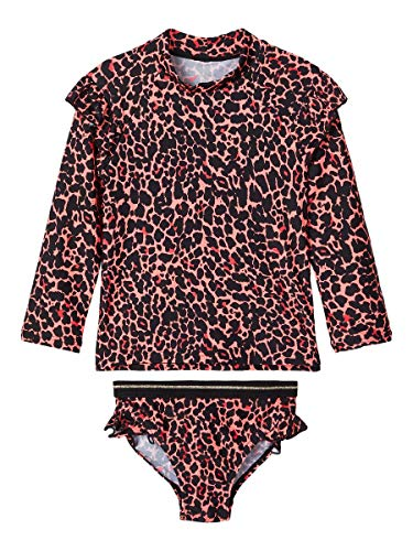 NAME IT Girl Bademode Leopardenprint 98/104Neon Coral