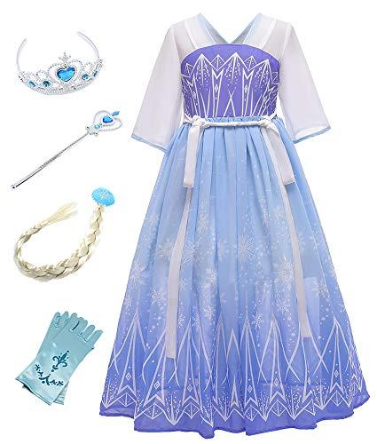 O.AMBW Vestido Princesa para Nias Disfraz Elsa Cosplay Hanfu Princesa Kimono Disfraces y Accesorios Reina de Carnaval Halloween Regalo Cumpleaos Navidad Reyes Magos para Nias de 2 a 9 aos