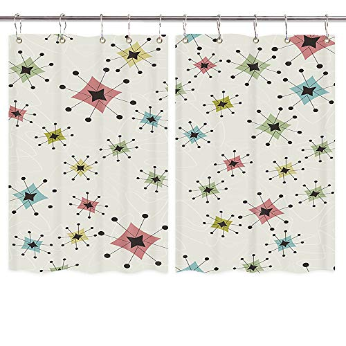 Retro Creative Kitchen Curtains, Vintage Stars Vintage Pattern of Boomerangs Window Curtain, Waterproof Fabric Kitchen Drapes 10PCS Hooks Included 55X39 in