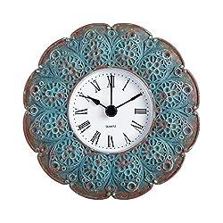 NIKKY HOME Pewter Vintage Small Quartz Table Clock 4.7 x 1.8 x 4.7 inch, Aqua